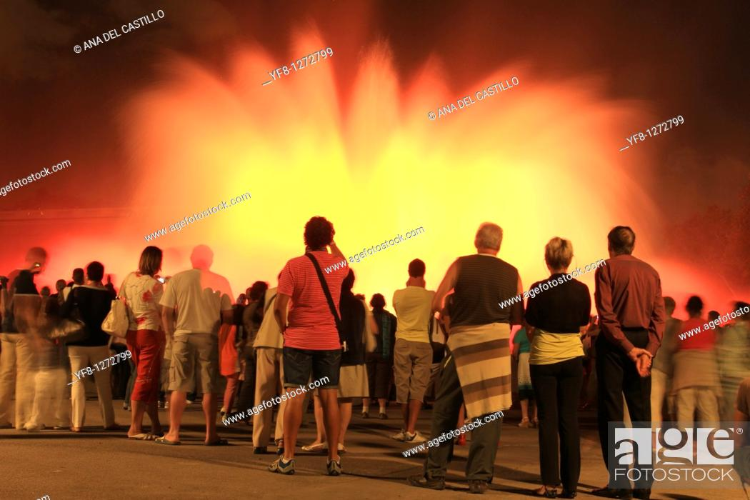 Stock Photo: Magic Fountain, Montjuic, Barcelona, Catalonia, Spain.