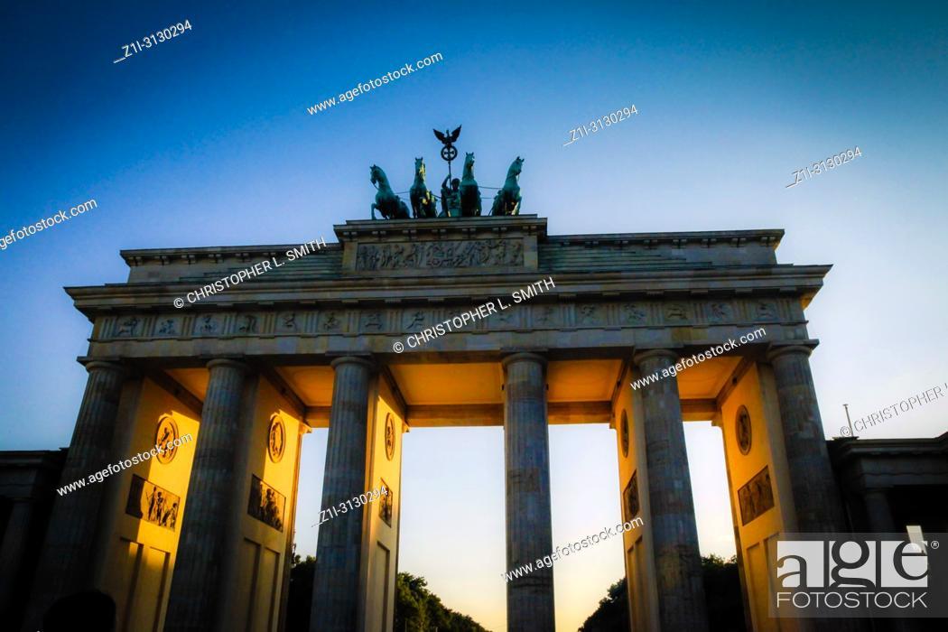 Stock Photo: The Brandenburg Gate at sunset in Berlin Germany.