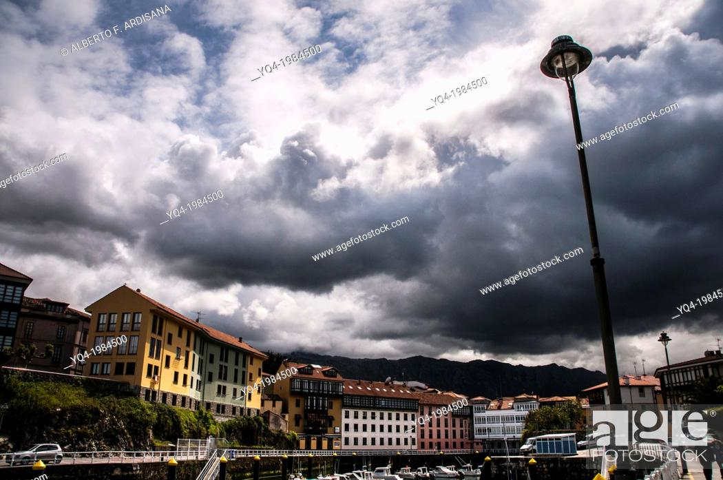 Stock Photo: View of Llanes from port. Asturias, Spain.