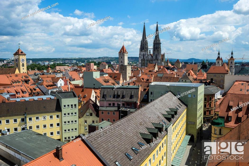 Stock Photo: Overlook over the Unesco world heritage sight Regensburg from the tower of the Church of the Holy Trinity, Bavaria, Germany.