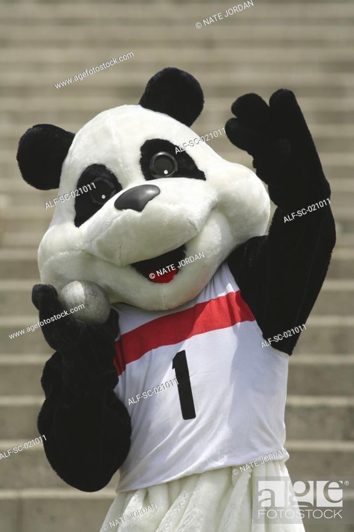 Stock Photo: Panda Throwing a Shot Put.
