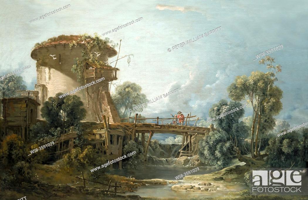 Stock Photo: The Dovecote, Francois Boucher, 1758, Saint Louis Art Museum, Missouri, USA, North America.