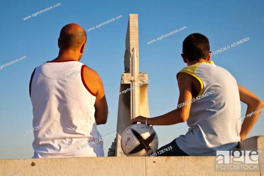 Stock Photo: Monument to the Discoverers, in Belem, Lisbon, Portugal.