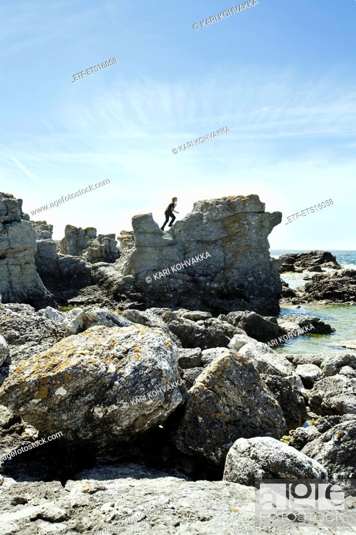 Stock Photo: Raukar on the island of Faro Gotland Sweden.