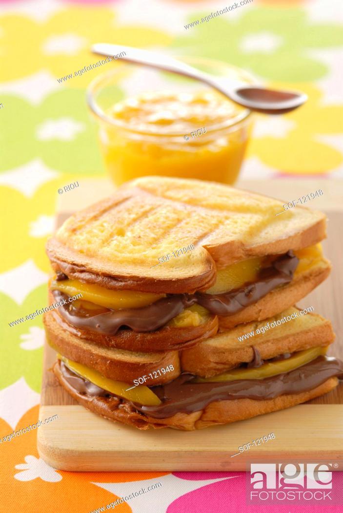 Stock Photo: Chocolate and mango toasted sandwich.