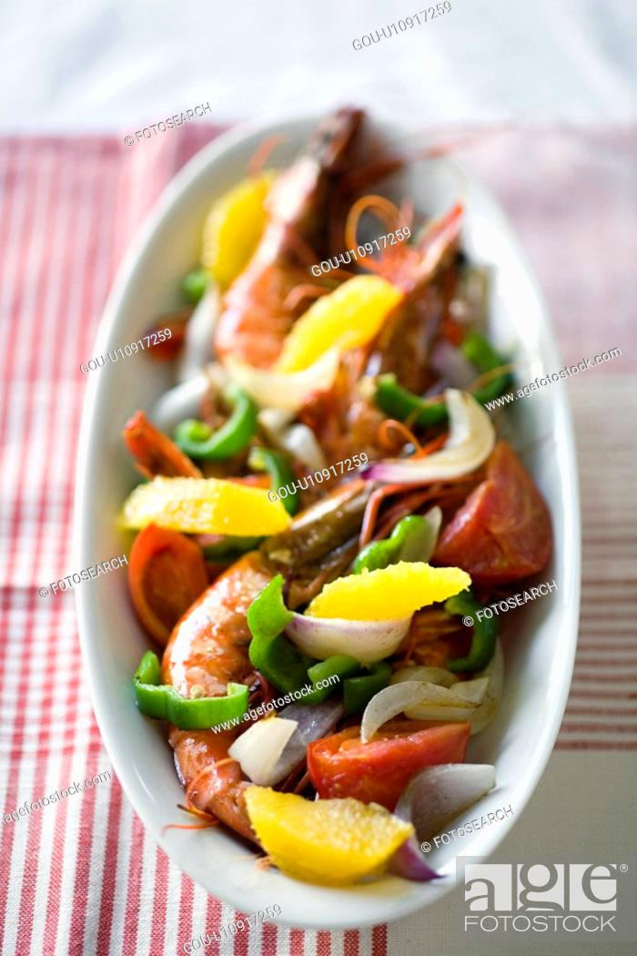 Stock Photo: Bowl of vegetable and shrimp saute.