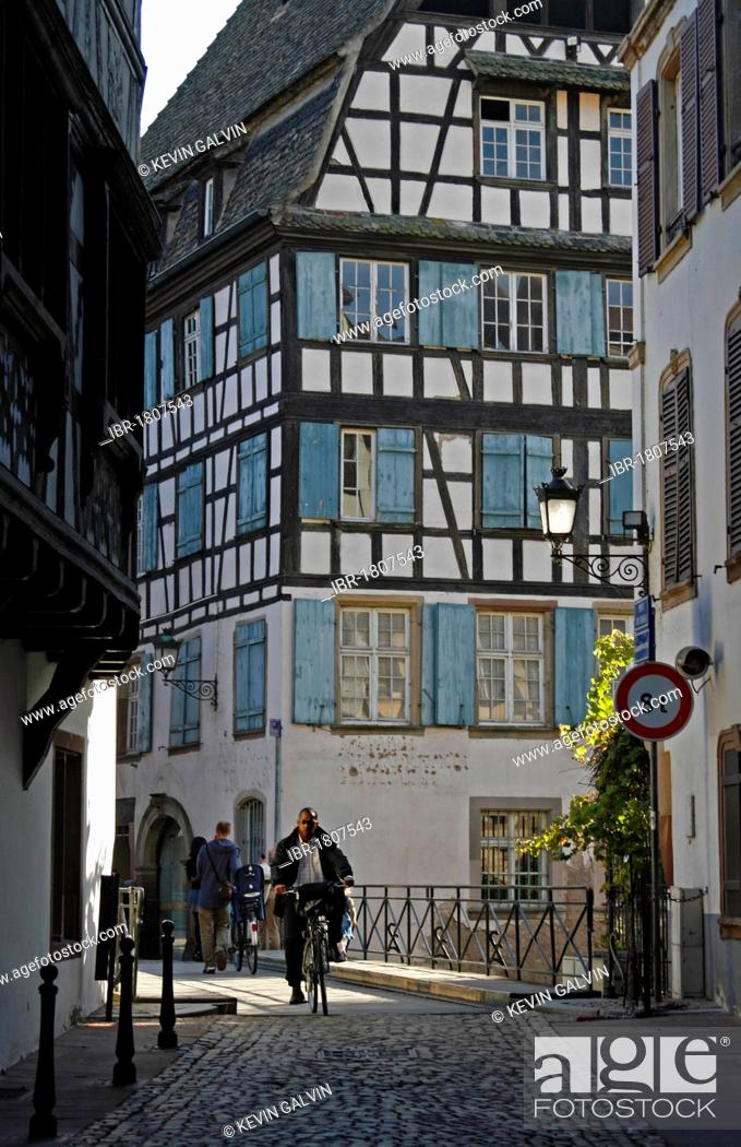 Stock Photo: Half-timbered buildings, La Petite France, Strasbourg, Alsace, France, Europe.