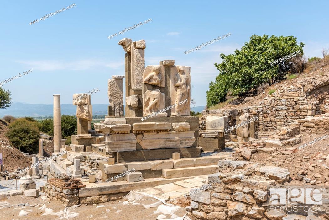 Stock Photo: Memmius Monument at Ephesus historical ancient city, in Selcuk,Izmir,Turkey.
