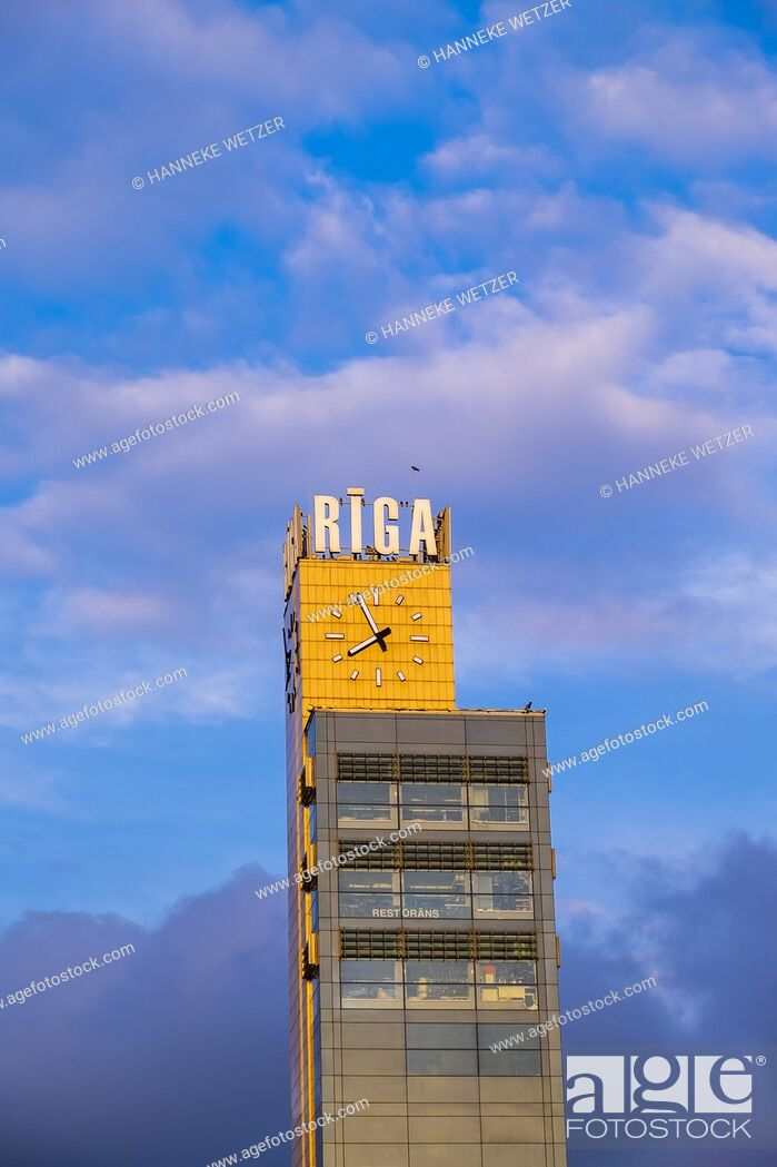 Photo de stock: Origo clock tower in Riga, Latvia, Baltic States.