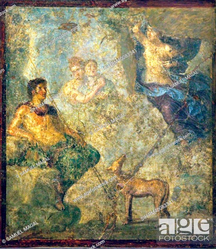 Stock Photo: Italy, Naples, Naples Museum, from Pompeii, House of Diodcuri VI 9, 6-7, Endimione and Selene.