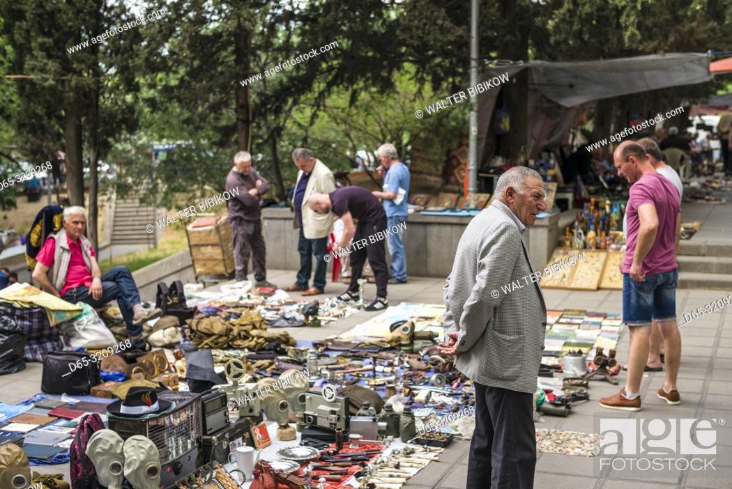 Stock Photo: Georgia, Tbilisi, Dry Bridge Market, souvenir market, NR.