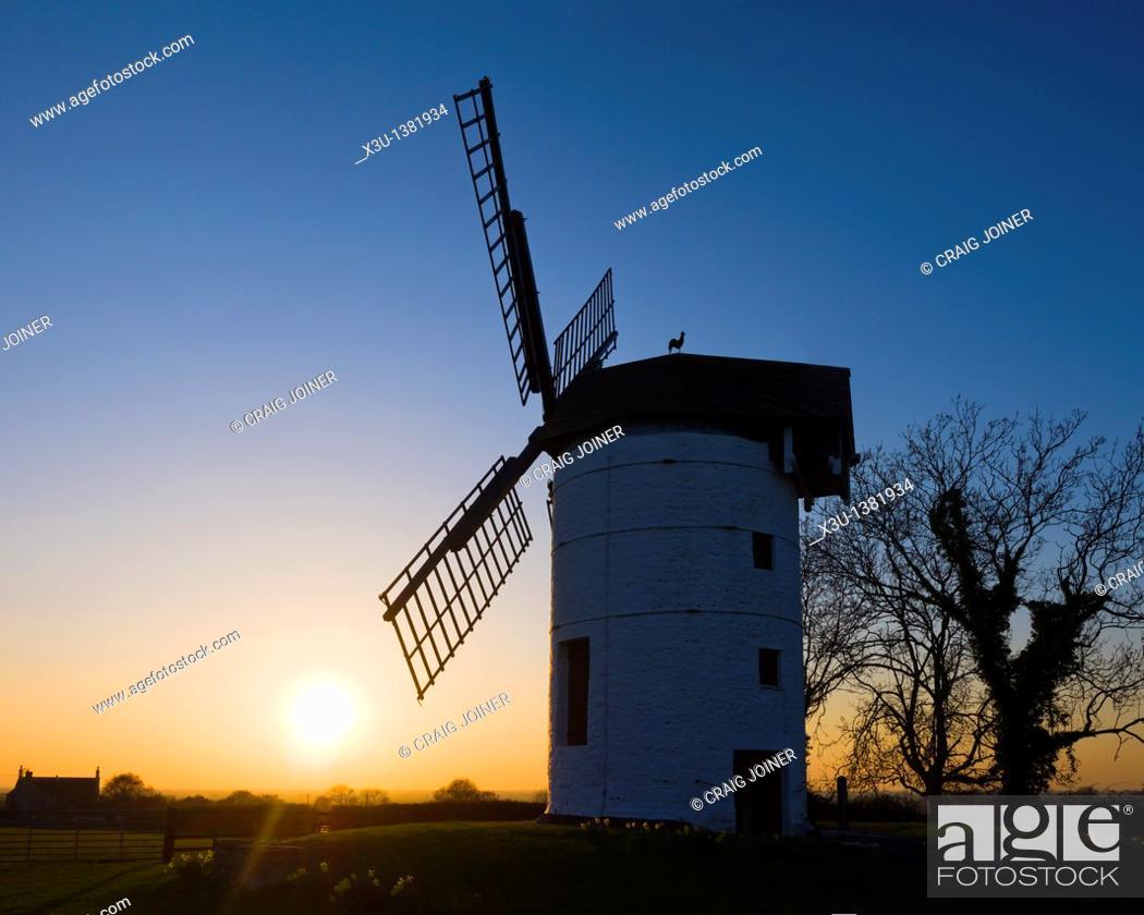 Stock Photo: Sunset at Ashton Windmill near Chapel Allerton, Somerset, England, United Kingdom.