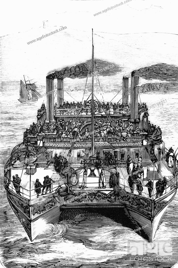 Stock Photo: England, Castalia steamship, double-hulled and refurbished to avoid passenger seasickness when crossing the English channel. Antique illustration.