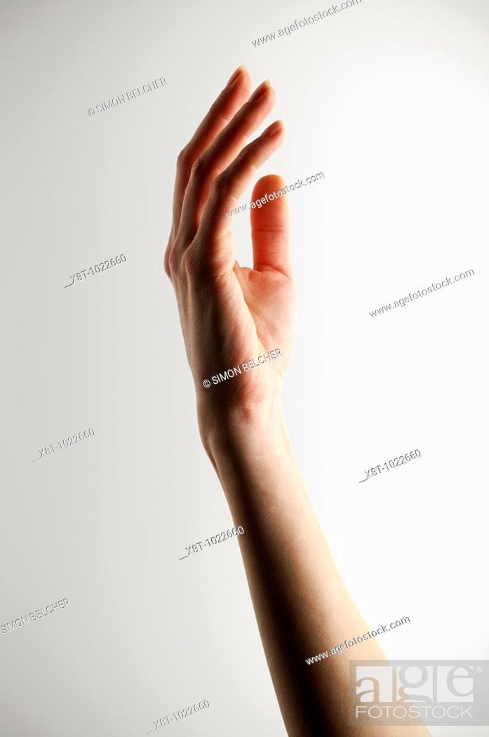 Stock Photo: Hand Reaching Up, Close Up.