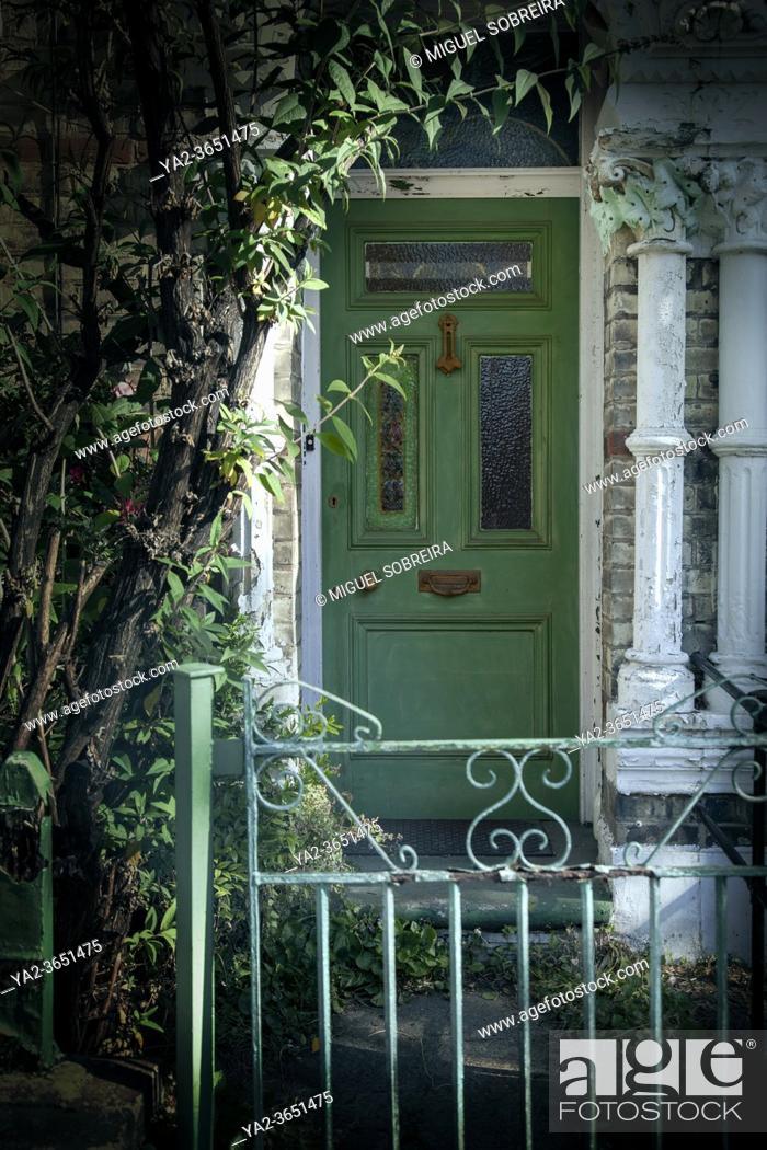 Stock Photo: Green Front Door.