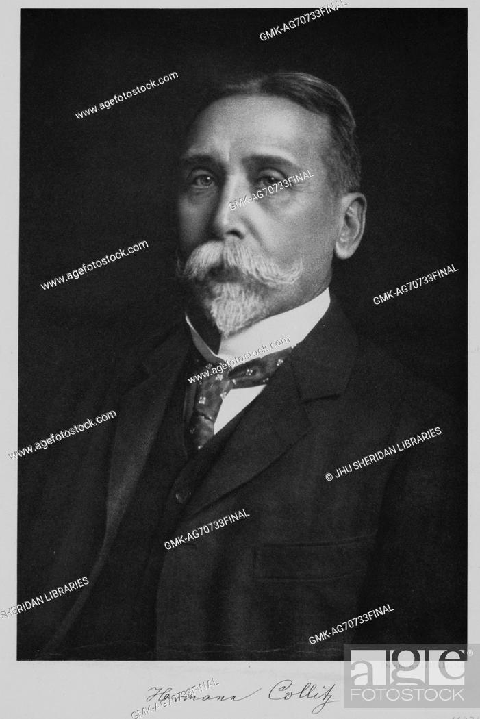 Stock Photo: Half-length seated portrait of German linguist and Professor of Germanic Philology Hermann Collitz, 1900.
