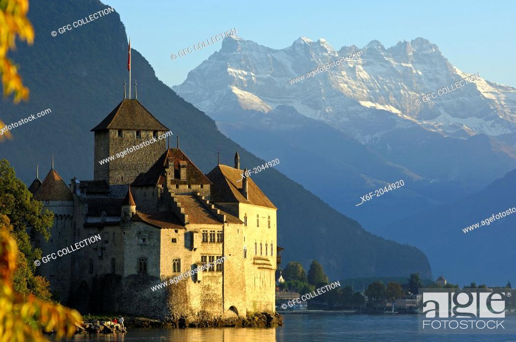 Stock Photo: Castle Chillon at Lac Leman and peak Dents du Midi, Montreux, Switzerland.