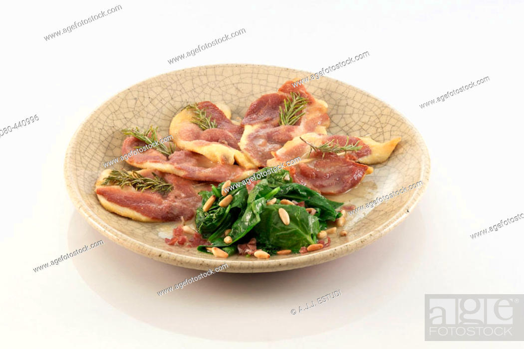 Stock Photo: Chicken saltimbocca with rosemay.