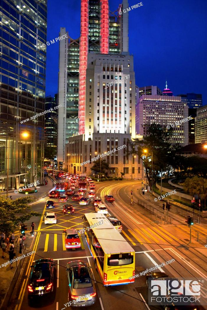 Stock Photo: night traffic on Queens Road Central, Hong Kong.