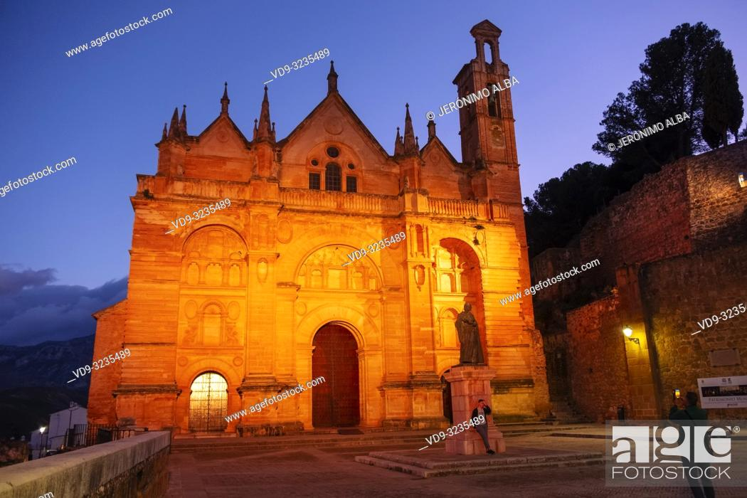 Stock Photo: Real Colegiata church Santa María la Mayor at dusk. Old town monumental city of Antequera, Malaga province. Andalusia, Southern Spain. Europe.