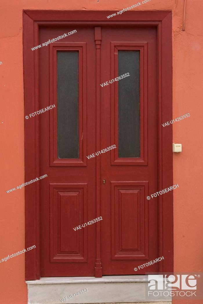 Stock Photo: Brown, Close-Up, Day, Door, Doorbell.