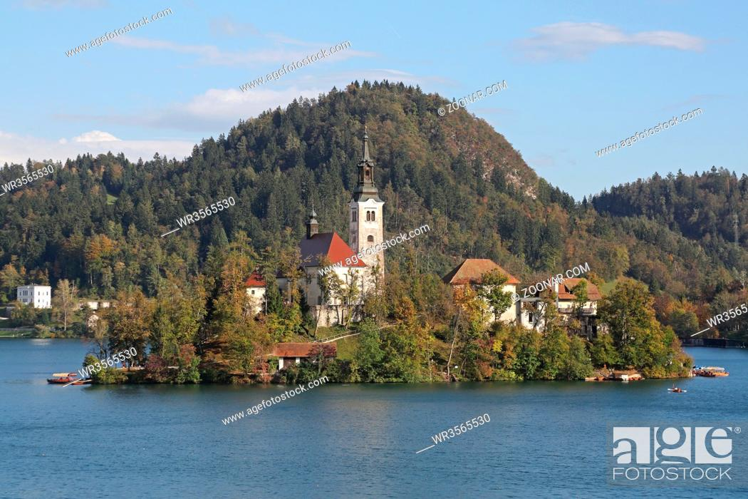 Stock Photo: Small Island at Bled Lake in Slovenia.