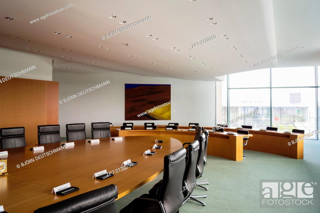 Stock Photo: The Cabinet Room inside the Federal Chancellery, Home of the Chancellor and the Chancellery staff.