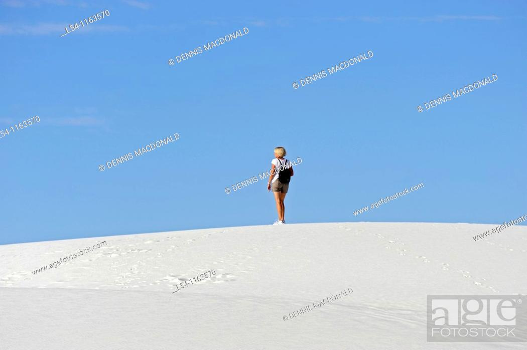 Stock Photo: Female Hiker at White Sands National Monument New Mexico.