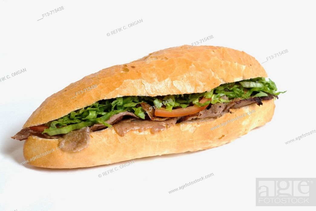Stock Photo: turkish kebab in sandwich.