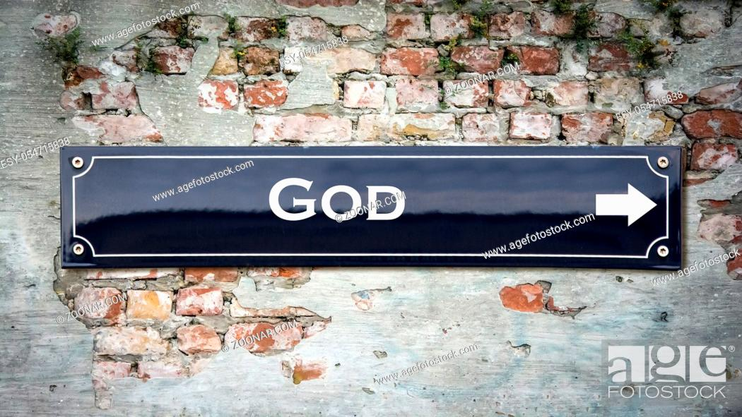 Stock Photo: Street Sign the Direction Way to God.