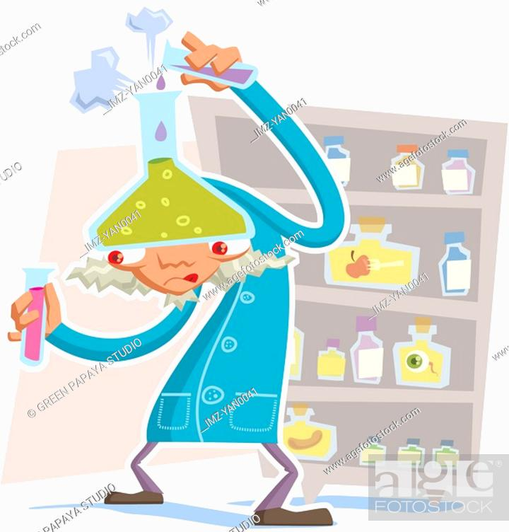 Stock Photo: A mad scientist doing an experiment.