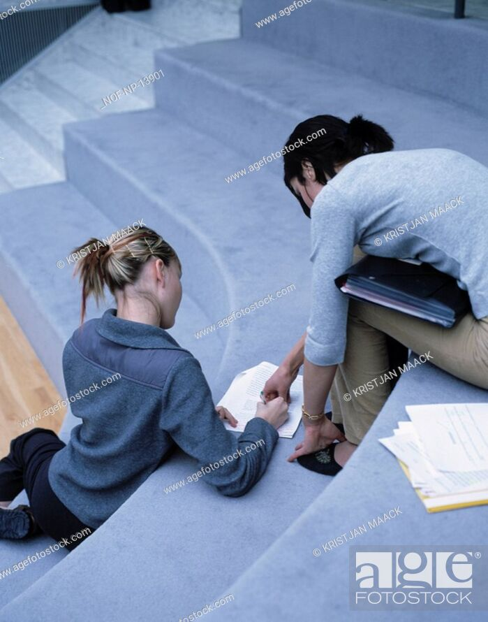Stock Photo: Two girls studying together.