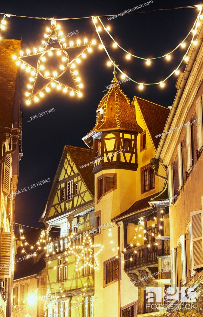 Stock Photo: Maison Pfister (German Reinaissance) with Christmas lights at night. Colmar. Wine route. Haut-Rhin. Alsace. France.
