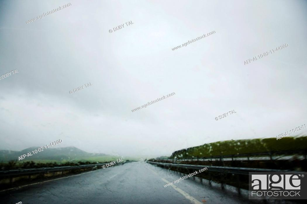 Stock Photo: Photograph of the wet roads in Andalusia at winter.