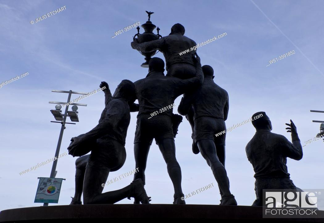 Stock Photo: Statue of England Rugby heroes outside Wembley Stadium, London, UK.