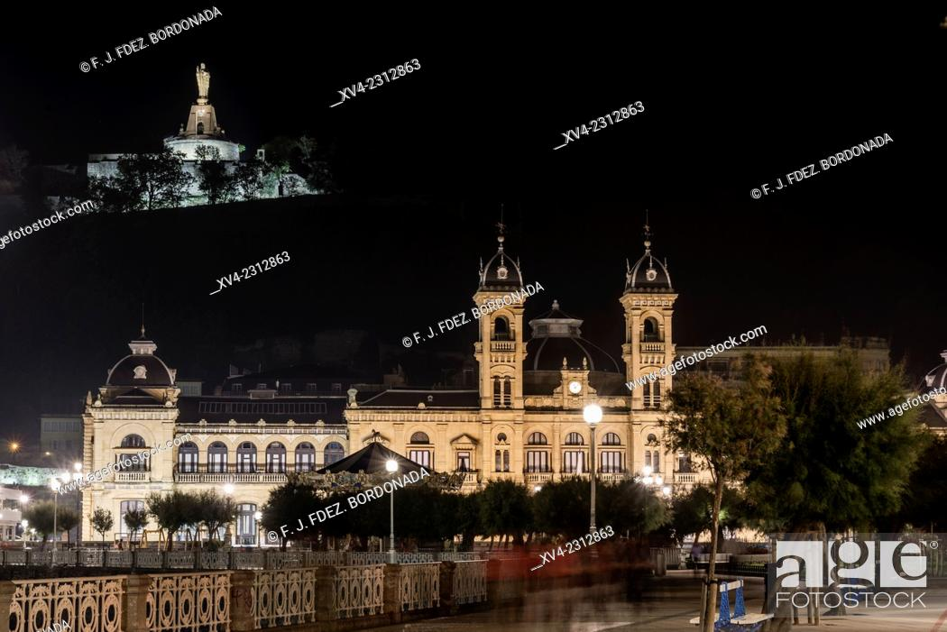 Stock Photo: City Hall. Old town of San Sebastián by night. Donostia, Basque Country, Spain.