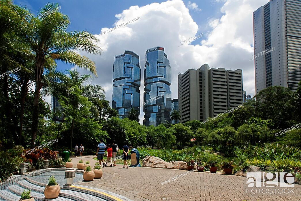 Stock Photo: Hong Kong Park, Hong Kong, China. The Hong Kong Park is a public park next to Cotton Tree Drive in Central, Hong Kong. It covers an area of 80,000 m².