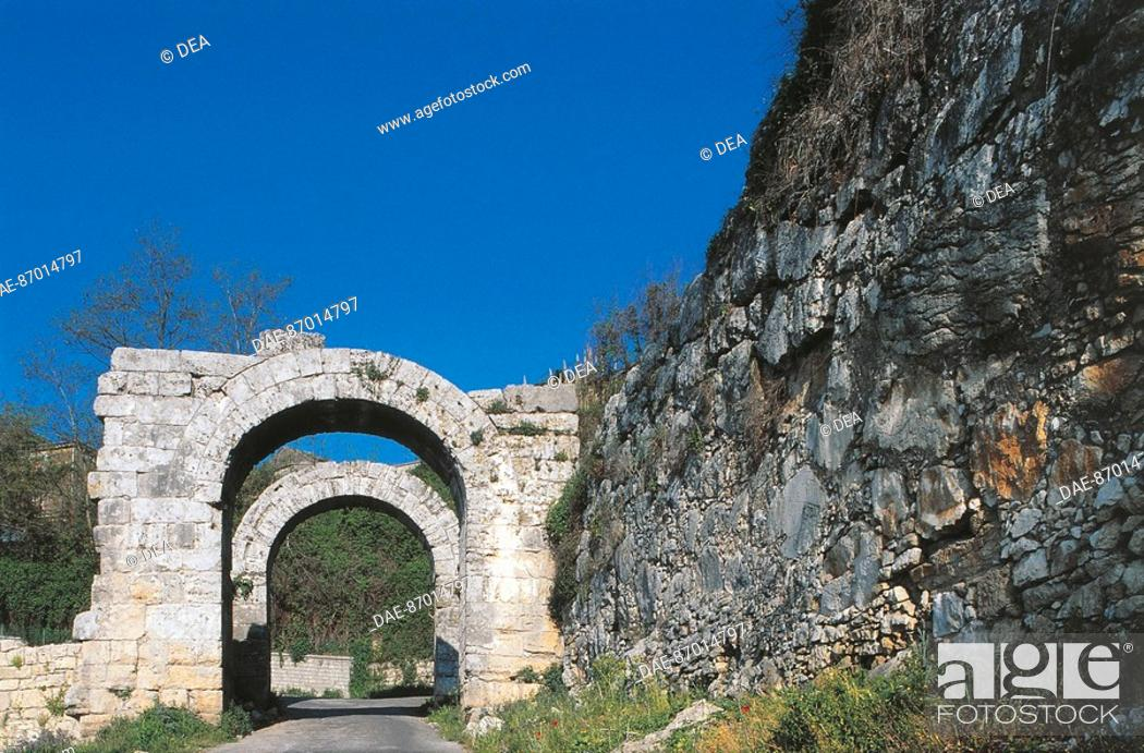 Stock Photo: Archways over a road, Ferentino, Lazio Region, Italy.