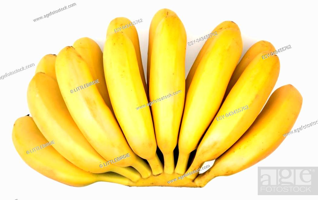 Stock Photo: Big bunch of little ripe delicious bananas isolated on white background, top view.