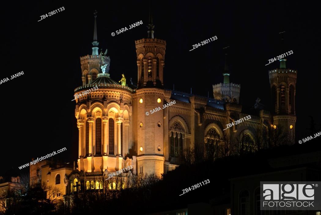 Stock Photo: Notre-Dame de Fourvière at night, UNESCO World Heritage Site, Lyon, France, Europe.