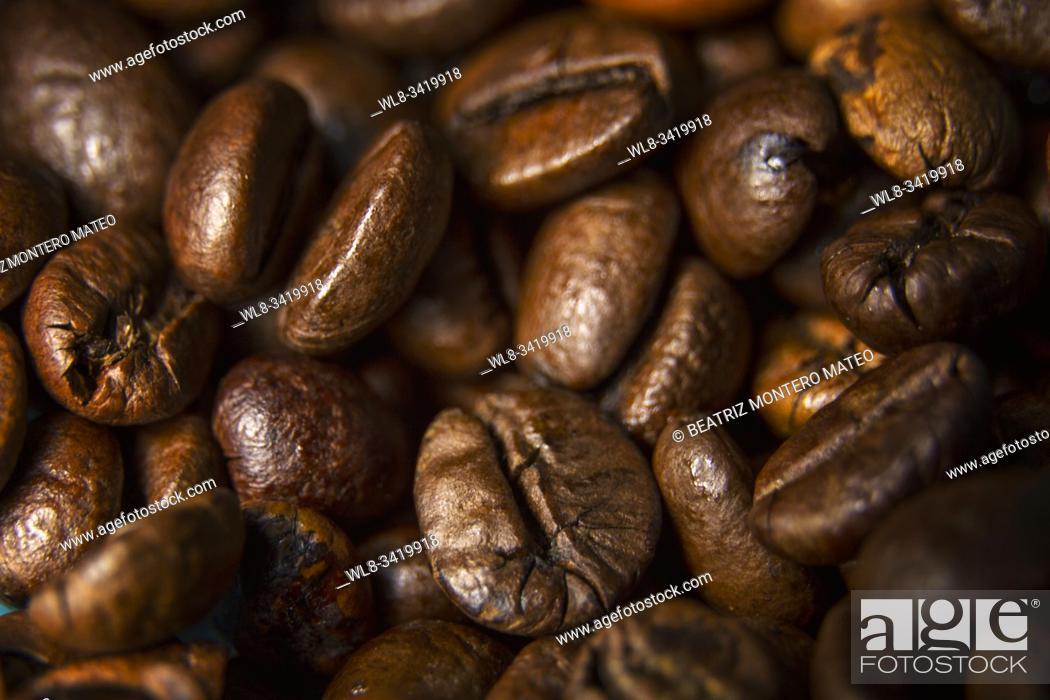 Stock Photo: Coffee beans detail. Macro photography. .