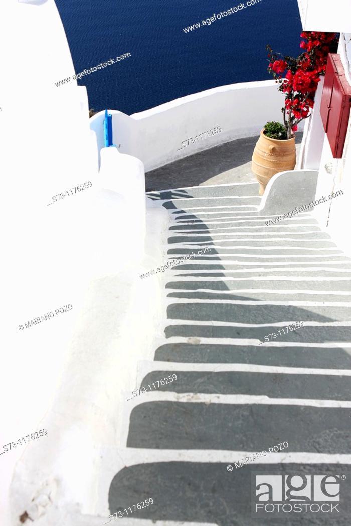 Stock Photo: Santorini view, Oia, Cyclades Islands, Greece.