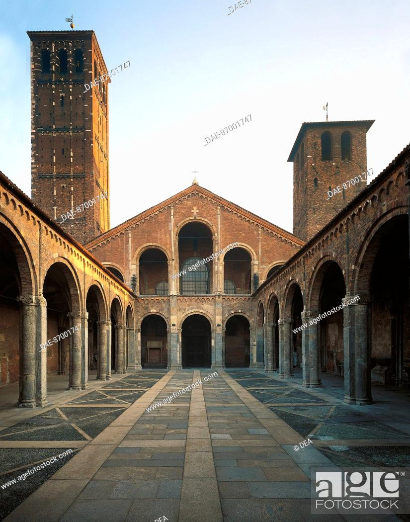 Stock Photo: Quadrangle, facade and bell towers of the Basilica of Sant'Ambrogio, Milan. Italy, 4th century.