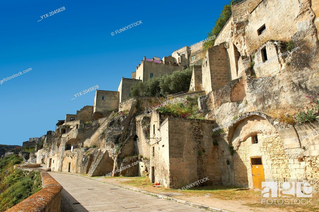 Stock Photo: The ancient cave dwellings, known as 'Sassi', in Matera, Southern Italy. A UNESCO World Heritage Site.