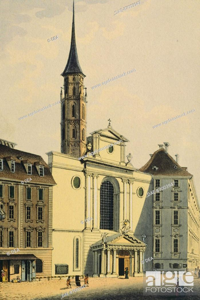 Stock Photo: St Michael's Church in Vienna, Austria 19th Century. Print.