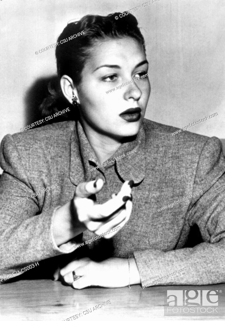 Stock Photo: Betty Jane Rase, at her divorce hearings against husband, Mickey Rooney, May 1948.
