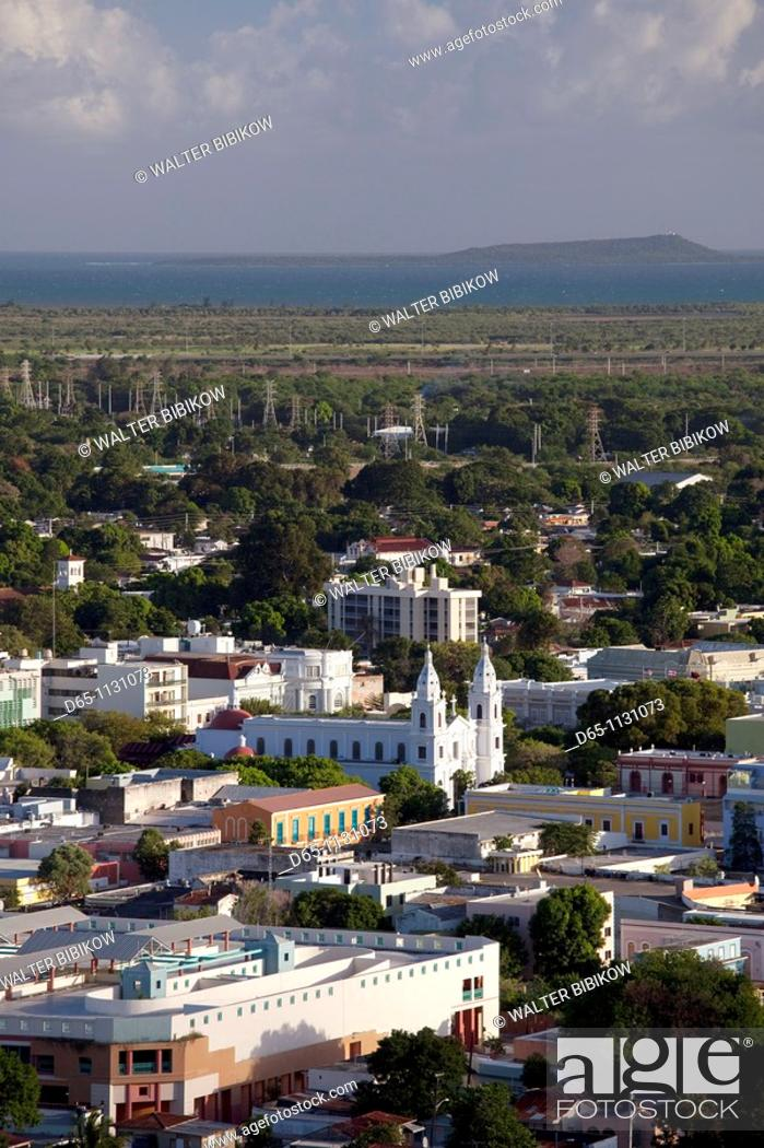 Stock Photo: Puerto Rico, South Coast, Ponce, town view from El Vigia cross.