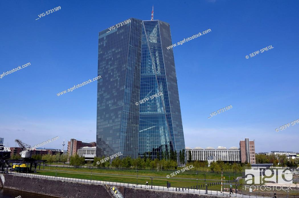 Stock Photo: Germany, Frankfurt, April 20, 2017 View of the Central Administration of the European Central Bank (ECB) - FRANKFURT, Germany, 20/04/2017.