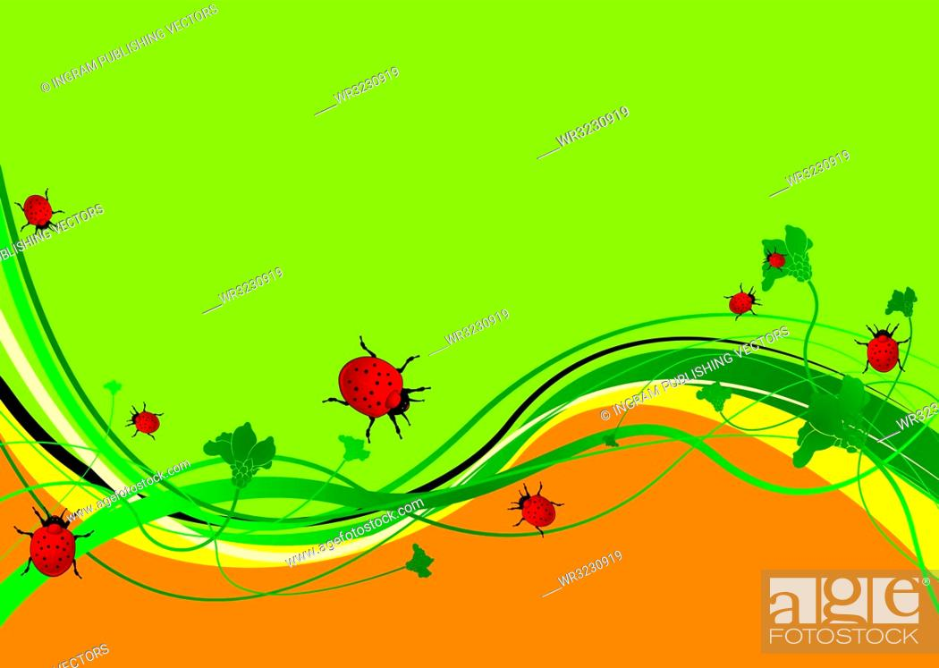 Stock Vector: Green and orange abstract background with ladybirds eating.