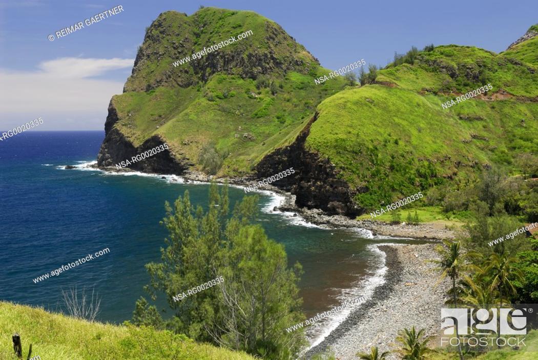 Stock Photo: Kahakuloa Tall Lord eroded volcanic cinder cone on Maui.